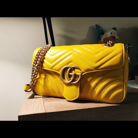 7fb9c9350f5247 Gucci Bags   Small Marmont Crossbody Yellow Authentic   Poshmark